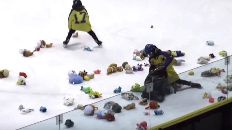Chrpa skóroval a na led přiletěly stovky plyšáků